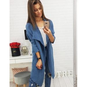 Pletené dlouhé svetry v modré barvě