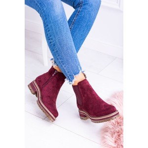 Dámské kotníkové boty vínové