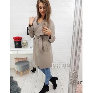 Dlouhý dámský kabát v béžové barvě