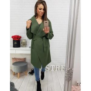 Jarní kabát dámský v zelené barvě