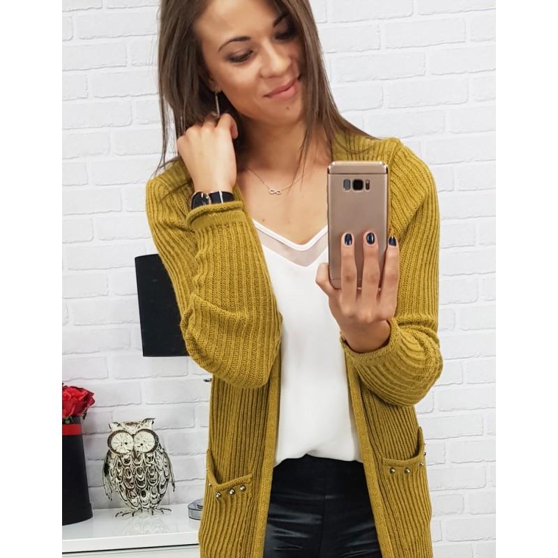 285322f65205 Dámské kardigany s kapsami v žluté barvě