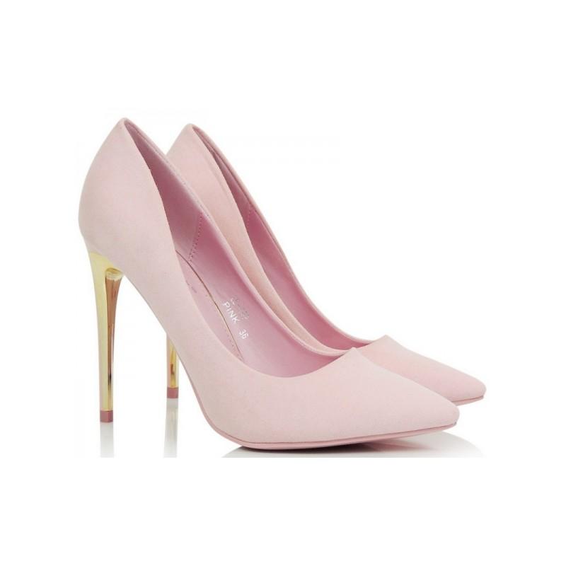 VELIKOST 37 Luxusní růžové lodičky se zlatým podpatkem pro každou ... 6b7bd70018