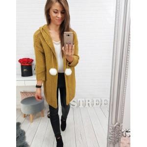 Kardigan dámský s kapucí žlutý