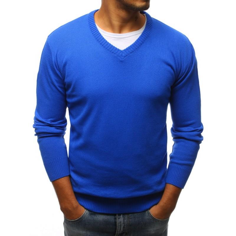 Módní svetr v modré barvě s V výstřihem f8ad296cda