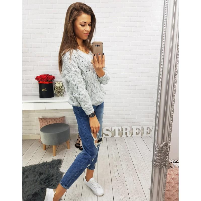 Pletené svetry dámské v šedé barvě bdca533fcf