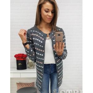 Dlouhý pletený svetr s barevným vzorem tmavě šedý