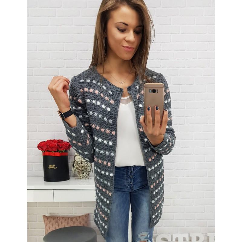 Dlouhý pletený svetr s barevným vzorem tmavě šedý c4a31668b3