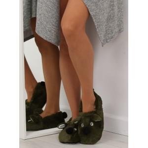 Dámské pantofle s motivem pejska zelené