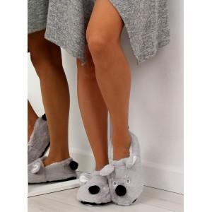 Dámské pantofle s motivem pejska šedé
