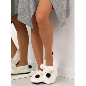Dámské pantofle s motivem pejska bíle