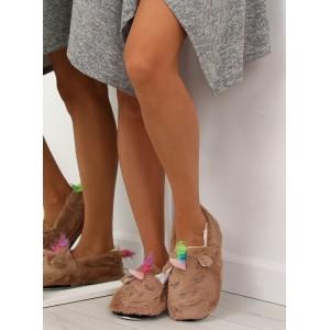 Domácí pantofle dámské hnědé