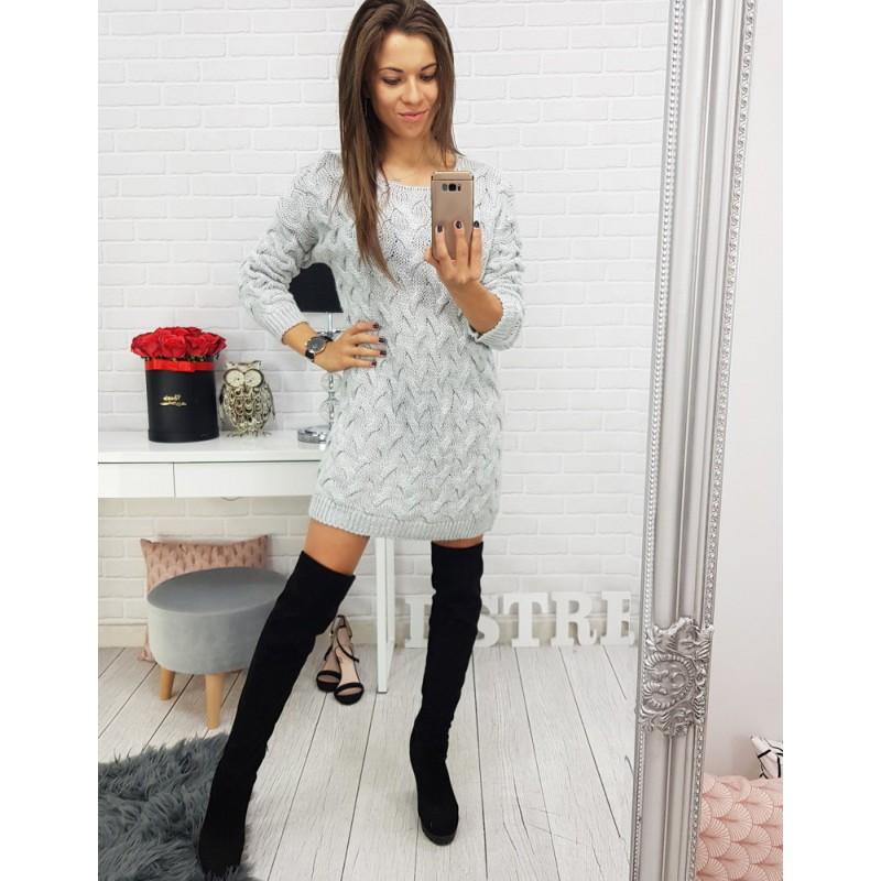 Dlouhý dámský svetr v šedé barvě pletený 622b45f02f