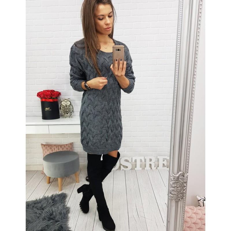 9470e659cc9 Dámský svetr v tmavě šedé barvě dlouhý