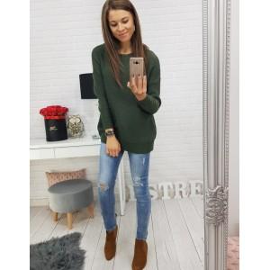 Dámské svetry v zelenej barvě s mašlí vzadu