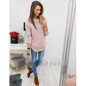 Dámský svetřík v růžové barvě s mašlí