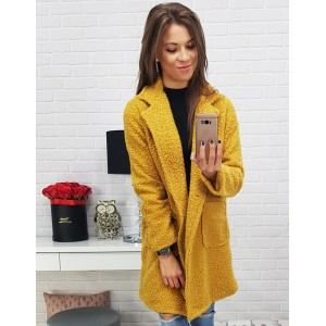 Dlouhý zimní kabát dámský ve žluté barvě