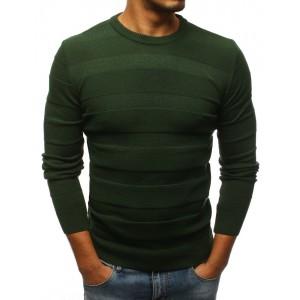 Pánský svetr s kulatým výstřihem v zelené barvě