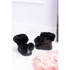 Černá zimní dětská zateplená obuv s kožešinou