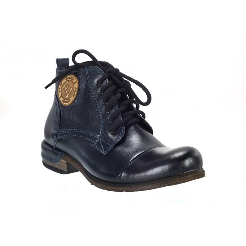 1ad341984e5 Pánské kožené zimní boty tmavě modré - manozo.cz