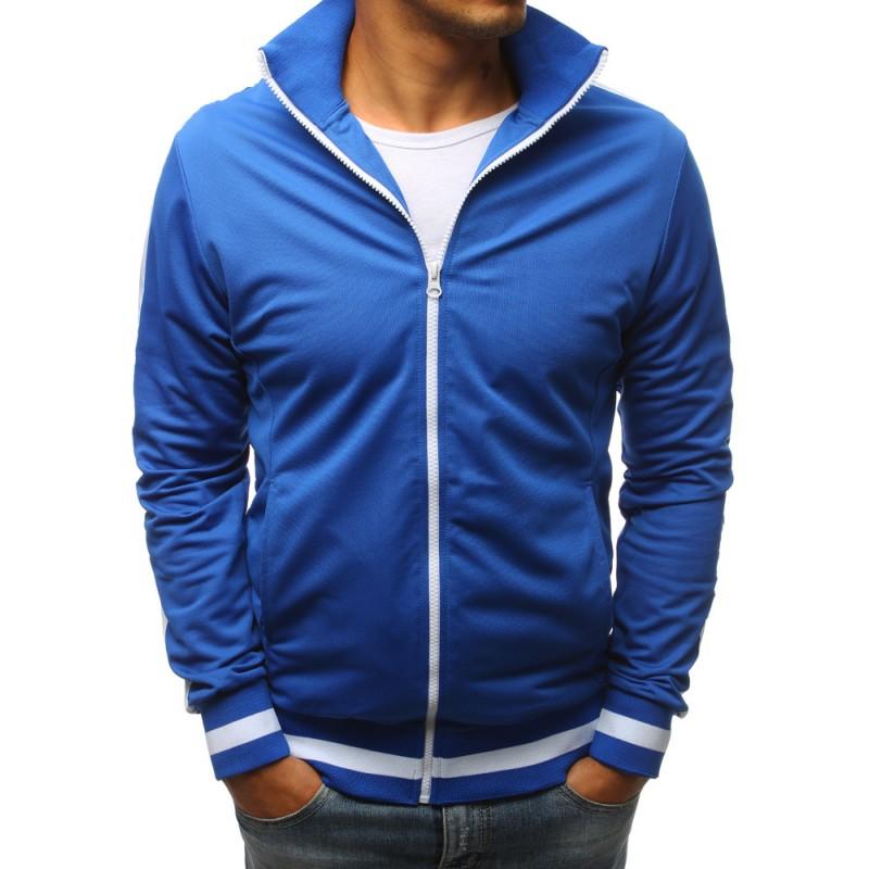 Modrá pánská mikina bez kapuce na zip s bílým pásem na rukávu ... b851d4aa1d