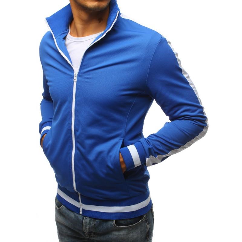 Modrá pánská mikina bez kapuce na zip s bílým pásem na rukávu ... cfa8cf17d1