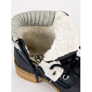 Chlapecká zimní obuv v černé barvě na šněrování