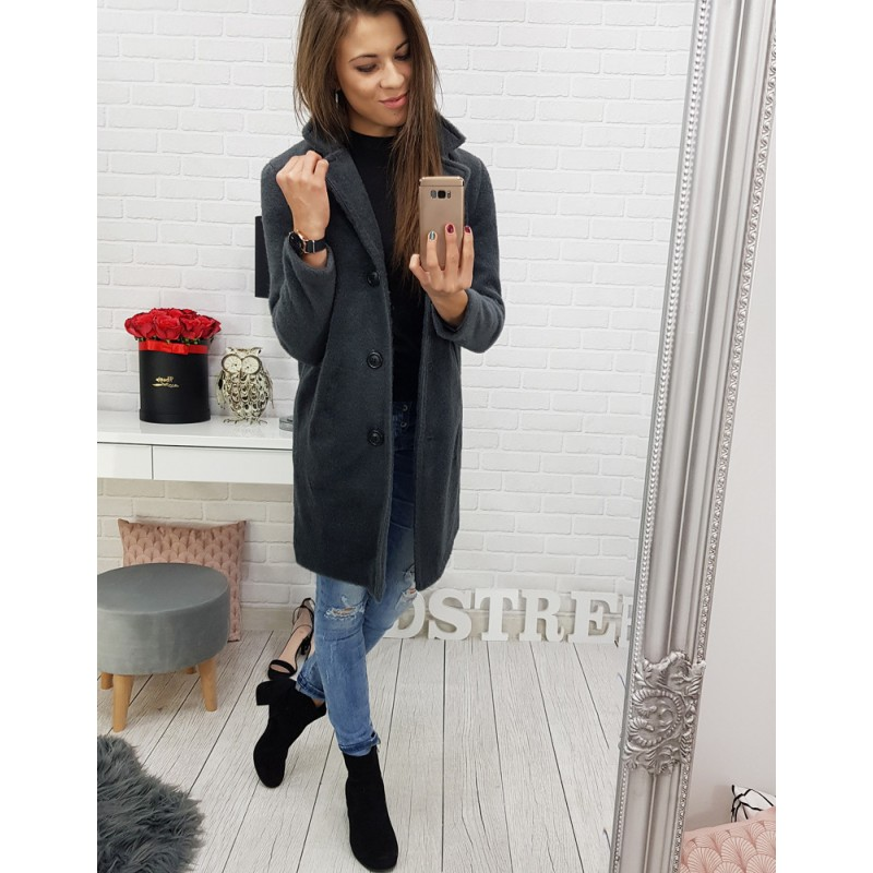 c2d8dadc96be Elegantní tmavě šedý kabát pro dámy se zapínáním na knoflíky