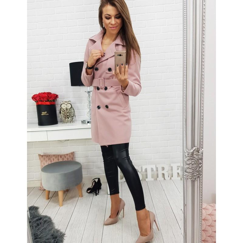 Dámský růžový kabát na podzim s opaskem a dvojitým zapínám na knoflíky e17cf4ee719