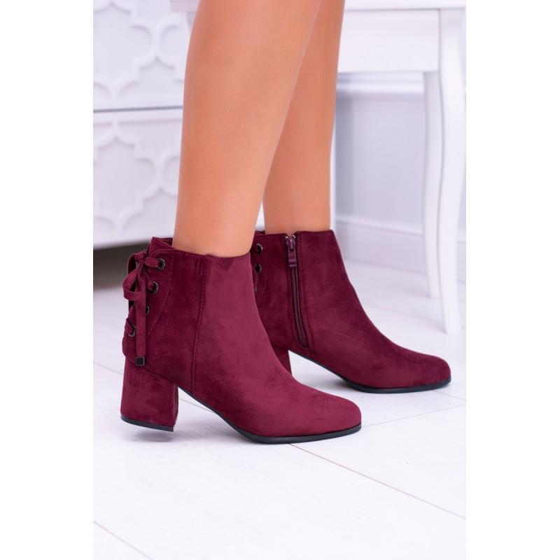 6eb95906a971 Vínové dámské kotníkové boty semišové s elegantným šnurovaním