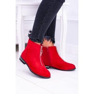 Červené trendy kotníčky se stříbrným zipem a kamínkama na podpatku