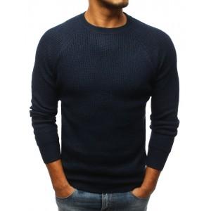 Modrý pánsky štríkovaný sveter na zimu