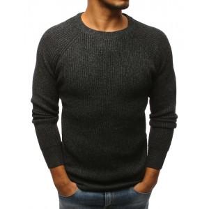 Zimní svetr pro pány s tmavě šedé barvě s kulatým výstřihem