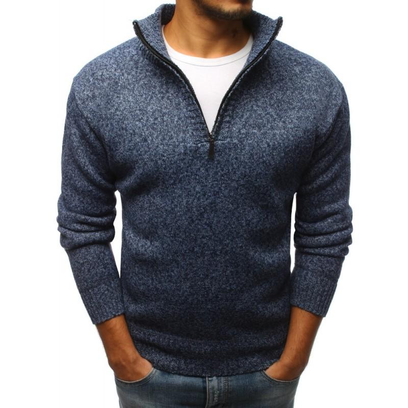 Elegantní pánský svetr v modré barvě se zipem ac4694ad70