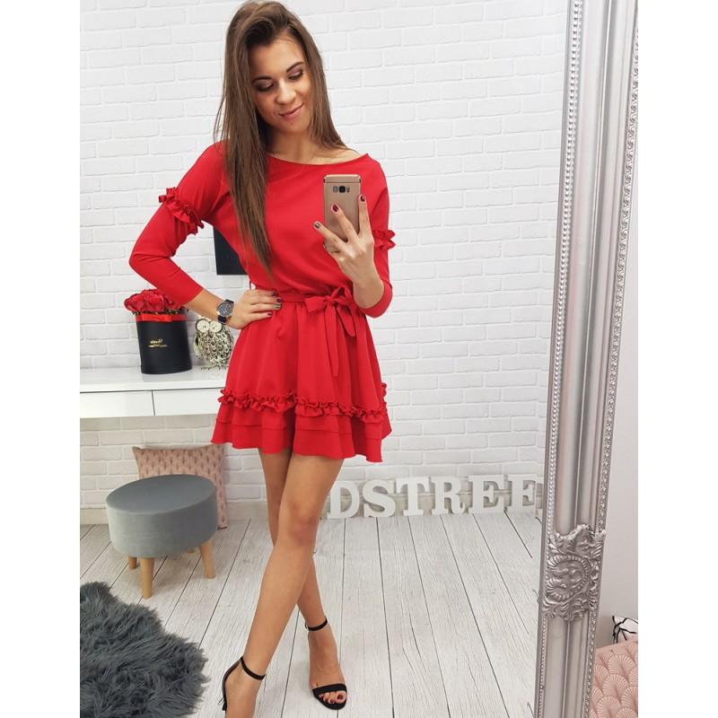 88359d933ffd Krátké dámské šaty v červené barvě s mašlí