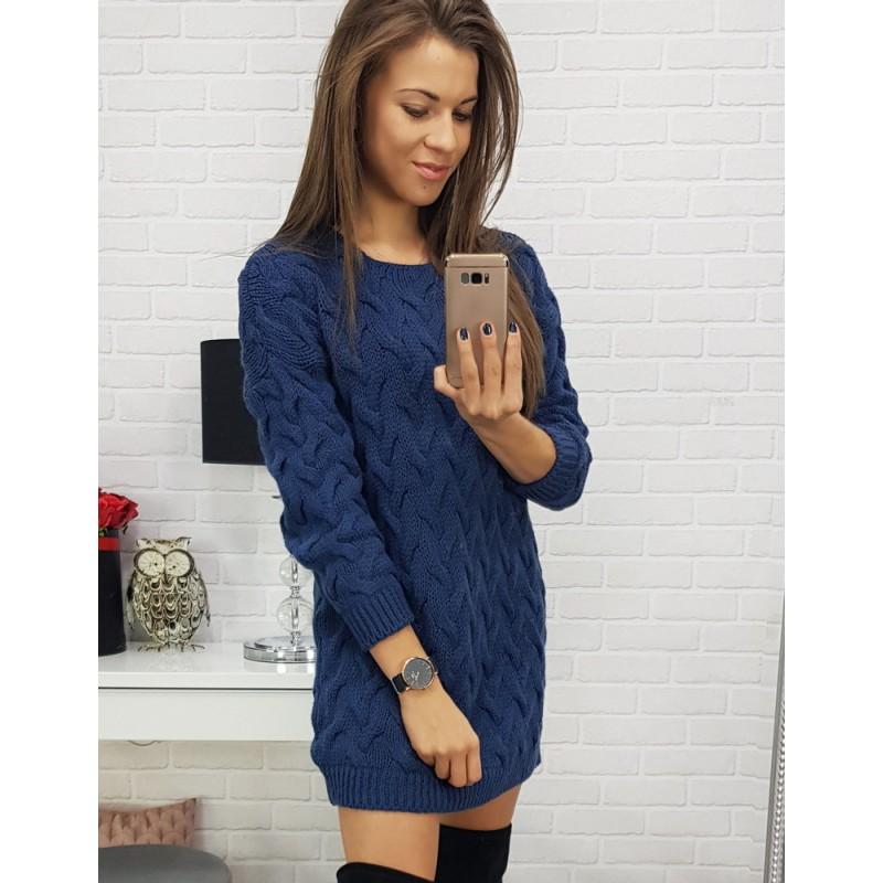 498d0544c2c5 Úzké dámské pletené šaty v modré barvě