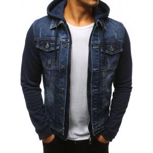Pánská džínová bunda v modré barvě s kapucí