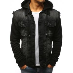 Černá pánská riflová bunda s kapucí