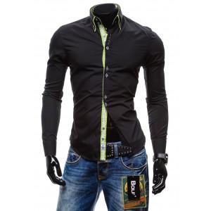 Trendy pánska slim fit košile černé barvy BOLF