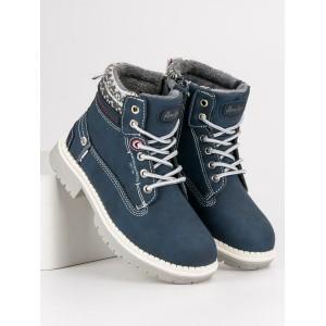 Chlapecké boty s kožíškem v modré barvě