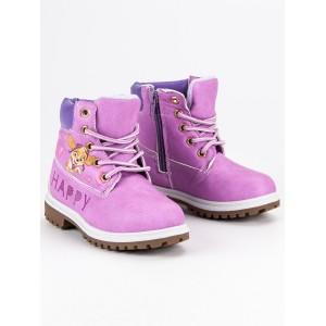 Růžové dětské boty na zimu s motivem tlapkovej patroly