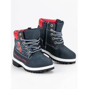 Pohádkové černé dětské zimní boty s motivem spiderman
