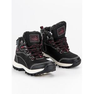 Černé dětské boty se zipem na hrubé podrážce
