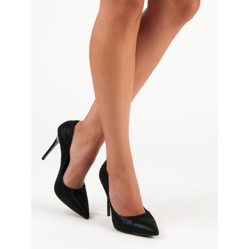 f95686730 Elegantné dámske čierne lodičky s leskom