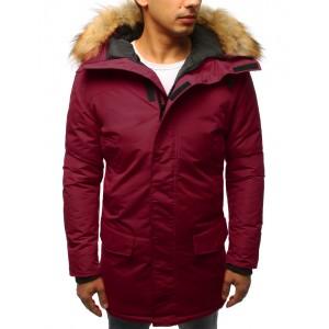 Pánská dlouhá zimní bunda v bordó barvě na zip