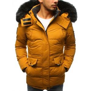 Pánská zimní bunda v žluté barvě s odnímatelnou kožešinou