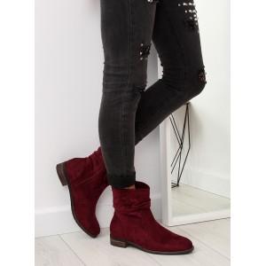 Dámské bordó kotníkové zateplené boty v country stylu