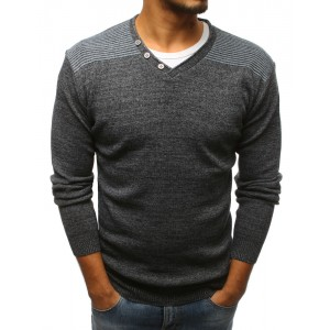 Stylový pánský svetr antracitový do tvaru V s pruhy na ramenou