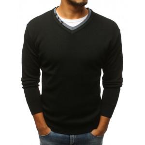 Pánský svetr přes hlavu do tvaru V v černé barvě s knoflíkem