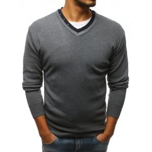 Moderní pánský šedý svetr do tvaru V s ozdobnými knoflíky