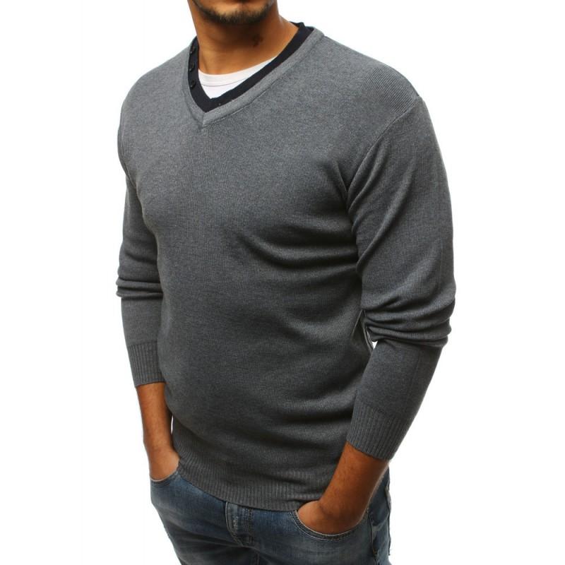 be9b3ce7dfe Moderní pánský šedý svetr do tvaru V s ozdobnými knoflíky